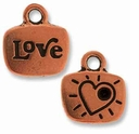 Antique Copper Crystal Glue-In Love Charm