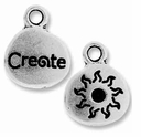 Antique Silver Crystal Glue-In Create Charm