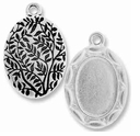 Antique Silver Scalloped Oval Picture Frame Charm