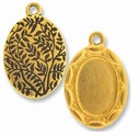 Antique Gold Scalloped Oval Picture Frame Charm