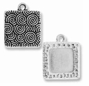 Antique Silver Hammertone Square Picture Frame Charm