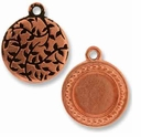 Antique Copper Beaded Round Picture Frame Charm