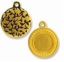 Antique Gold Beaded Round Picture Frame Charm