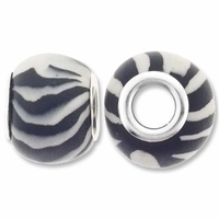 MIOVI™ Polymer Clay Beads w/Silver Plated Grommet,13x10mm Black White Stripe Rondelle Beads (6PK)