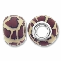 MIOVI™ Polymer Clay Beads w/Silver Plated Grommet,13x10mm Leopard Pattern Rondelle Beads (6PK)