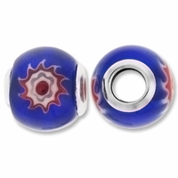 MIOVI™Millefiori Large Hole Beads w/Silver Plated Grommets 14x12mm Blue Design (4PK)
