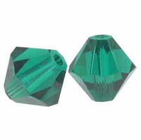 Emerald 4mm Faceted Bicone Crystal Beads 16 Inch Strand