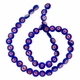 Navy Glass Millefiori 8mm Flat Round Beads 16-Inch Strand