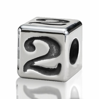 4.5mm Small Hole Alphabet Letter Bead Number 2