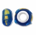 MIOVI™ Lampwork Large Hole Beads w/SP Grommets 14x9mm Blue /18K Gold Leaf Design (3PK)