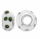 MIOVI™ Lampwork Large Hole Beads w/SP Grommets 14x9mm White / Olive Dots Design (6PK)
