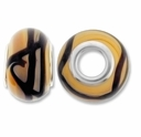 MIOVI™ Lampwork Large Hole Beads w/SP Grommets 14x9mm Beige / Black Swirl Design (6PK)