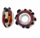 MIOVI™ Lampwork Large Hole Beads w/SP Grommets 14x9mm Amber /Beige / Black Dots Design (6PK)