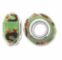MIOVI™ Lampwork Large Hole Beads w/SP Grommets 14x9mm Green/Amber Swirl Design (6PK)