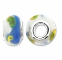 MIOVI� Lampwork Large Hole Beads w/SP Grommets 14x9mm Blue/White Floral Design (6PK)