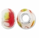 MIOVI™ Lampwork Large Hole Beads w/SP Grommets 14x9mm Red/White Floral Design (6PK)