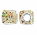 MIOVI™ Lampwork Large Hole Beads w/SP Grommets 14x14mm Silver Foil Clear/Color Dots Design (5PK)