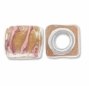 MIOVI™ Lampwork Large Hole Beads w/SP Grommets 14x14mm Silver Foil Gold/Pink Ribbon Design (5PK)