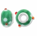 MIOVI™ Lampwork Large Hole Beads w/SP Grommets 14x9mm Green Floral Design (6PK)