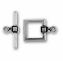 Antique Silver Deco Square Toggle Clasp Set