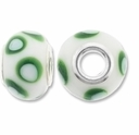 MIOVI™ Lampwork Large Hole Beads w/SP Grommets 14x9mm White Green Dots Design (6PK)