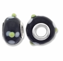 MIOVI™ Lampwork Large Hole Beads w/SP Grommets 14x9mm Black White Floral Design (6PK)