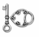 Antiqued Silver Lock & Key Toggle Clasp
