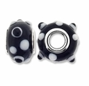 MIOVI™ Lampwork Large Hole Beads w/SP Grommets 14x9mm Black White Dots Design (6PK)