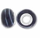 MIOVI™ Lampwork Large Hole Beads w/SP Grommets 14x9mm Black /Blue Ribbon Design (6PK)