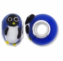 MIOVI™ Lampwork Large Hole Beads w/SP Grommets 14x9mm Blue /Penguin Design (2PK)