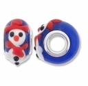 MIOVI™ Lampwork Large Hole Beads w/SP Grommets 14x9mm Blue /Snowman Design (2PK)