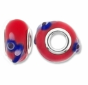 MIOVI™ Lampwork Large Hole Beads w/SP Grommets 14x9mm Red/Blue Bird Design (2PK)
