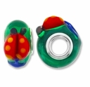 MIOVI™ Lampwork Large Hole Beads w/SP Grommets 14x9mm Green/Fish Design (2PK)