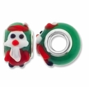 MIOVI™ Lampwork Large Hole Beads w/SP Grommets 14x9mm Green/Santa Claus Design (2PK)