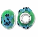 MIOVI™ Lampwork Large Hole Beads w/SP Grommets 14x9mm Green/Blue Turtle Design (2PK)