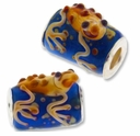 MIOVI™ Lampwork Large Hole Beads w/SP Grommets 18x18mm Blue/Beige Frog Design (1PC)