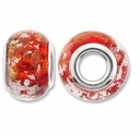 MIOVI™ Lampwork Large Hole Beads w/SP Grommets 14x9mm Orange Silver/Copper Foil Design (6PK)