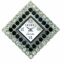 Large Diamond Crystal/Jet Austrian Crystal Watch Face