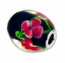 MIOVI™ Lampwork Large Hole Beads w/SP Grommets 21x18mm Black Floral Design (3PK)