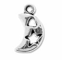Antiqued Silver Heart Star MOON Charm (10PK)