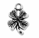 Antiqued Silver 10x15mm 4 Leaf Clover Charm (10PK)