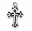 Antiqued Silver 19mm Cross in CROSS Charms (10PK)