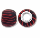 MIOVI™ Polymer Clay Beads w/Silver Plated Grommet,13x10mm Red Black Stripe Rondelle Beads (6PK)