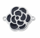 Silver Plated Large Enameled Flower Link (1PC)