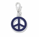 Silver Plated Dark Purple Enamel Peace Charm (1PC)