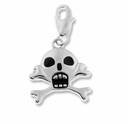Silver Plated Black Enamel Skull Charm (1PC)