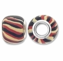 MIOVI™ Polymer Clay Beads w/Silver Plated Grommet,13x10mm Cream Black Brown Stripe Rondelle Beads (6PK)