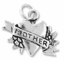 Sterling Silver Heart w/ Mother Banner Sterling Silver Charm