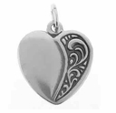 Decorative Heart Sterling Silver Charm