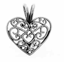 Filigree Heart Sterling Silver Charm